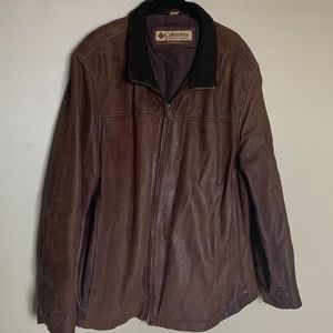 Columbia brown leather jacket size extra large